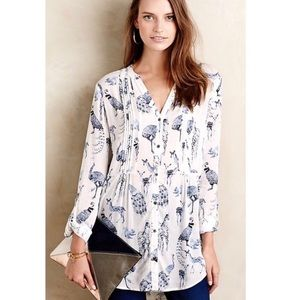 Anthropologie Maeve watercolor woodland animal top